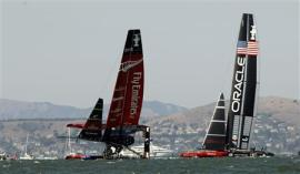 Emirates Team New Zealand sails on one hull against Oracle Team USA during Race 8 of the 34th America's Cup yacht sailing race in San Francisco