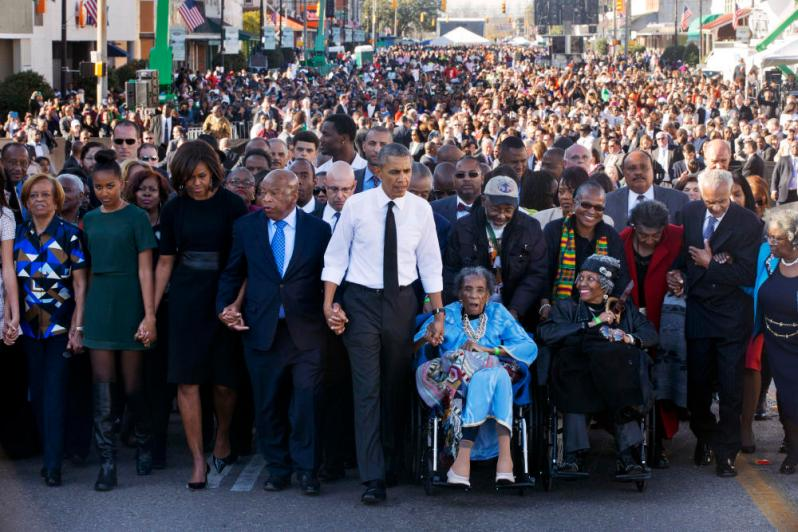 Barack Obama, Michelle Obama, Malia Obama, Sasha Obama, Marian Robinson, John Lewis, Amelia Boynton