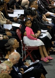 Malana Pinckney checks out the president of the United States. Photo: Stephen Crowley/The New York Times