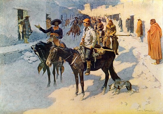 XCF373243 Zebulon Pike Entering Santa Fe, illustration published in 'Collier's Weekly', 1906 (print) by Remington, Frederic (1861-1909) (after); Private Collection; (add. info.: Zebulon Montgomery Pike (1779-1813) American Army officer and explorer; he explored the southwestern areas of the Louisiana Purchase, including the headwaters of the Mississippi River; image shows his capture by Spanish officials in New Mexico; The Great Explorers IX); American, out of copyright